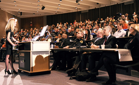 Dr. Deborah Clegg speaks to the crowd attending UT Southwestern's 'Thinking Big' event, which also included talks from faculty members (from front right) Dr. Helen Hobbs, Dr. James Amatruda, Dr. Benjamin Levine, and Dr. Alex Eastman.