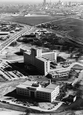Black-and-white aerial photo
