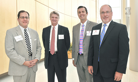 Speakers at the UT System Technology Management Council meeting included  (from left) Will Nordwind of Venable LLP; Frank Grassler; Bryan Allinson, Executive Director of UT System's Office of Technology Commercialization; and Bill Shuts  of the UT System. The event, held at BioCenter at Southwestern Medical District, featured UT System leaders involved in technology development from across multiple disciplines.