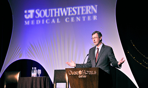 Dr. Hunt Batjer, Chairman of Neurological Surgery who also serves as co-chair of the NFL's Head, Neck, and Spine Committee, helps open the 2014 Paul M. Bass Neurosurgery Symposium on Traumatic Brain Injury.
