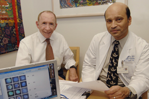 <p>Researchers including d Drs. Jonathan Uhr (left) and Debu Tripathy have for the first time described how copies of a gene are responsible for metastases in early-stage breast cancer. The gene, called uPAR, may offer a target for therapeutic drugs to stop or slow the disease's progression and could serve as a screening tool for assessing which drugs a patient will respond to.</p>