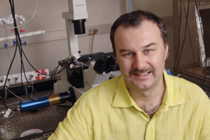 Dr. Ilya Bezprozvanny, associate professor of physiology, led research showing that the drug tetrabenazine — used in some countries to treat the symptoms of Huntington's disease — prevents death of brain cells in mice genetically engineered to mimic the hereditary condition.