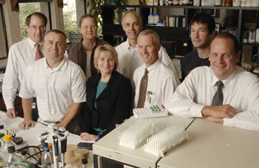 Researchers spearheading a $22 million grant from the National Institutes of Health to study obesity are (left to right): Drs. Craig Malloy, Joel Elmquist, Joyce Repa, Elizabeth Parks, David Mangelsdorf, David Russell, Jonathan Cohen and Jay Horton.