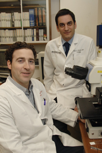 Drs. Yair Lotan (left) and Jose Karam have helped identify a set of molecular biomarkers that could better predict the recurrence of bladder cancer than conventional prognostic features such as the stage or grade of the malignancy.