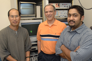 Dr. Eric Nestler (center) led a research team which included Dr. Ming-Hu Han and Vaishnav Krishnan in discovering that mice's ability or inability to cope with stress is linked to specific differences in the way brain cells communicate with each other. Understanding these mechanisms could eventually help scientists develop methods for humans to boost resilience to stress and depression.