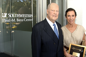 Paul Bass, chairman emeritus of the Southwestern Medical Foundation, and his wife, Carla, admired the surroundings Tuesday during the Paul M. Bass Administrative and Clinical Center's renaming celebration.