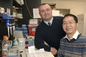 Dr. Joel Elmquist (left), professor of internal medicine and pharmacology at<br>UT Southwestern and senior author of the study, and Dr. Yong Xu, a postdoctoral research fellow in internal medicine.