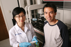 A research team led by Dr. Lawrence Lum (right) and including Dr. Wei Tang has discovered that a protein previously thought to promote colorectal cancer instead suppresses the growth of human cancer cells in culture.