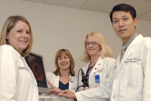 Members of UT Southwestern's new Clinical Center for Voice Care include (left to right) faculty associates Allison McFarland and Janis Deane, clinical associate professor Dr. Barbara Schultz, and assistant professor and director Dr. Ted Mau, all from the department of otolaryngology.