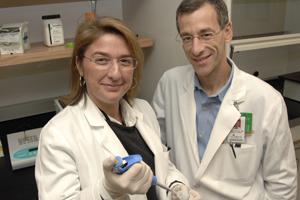 Drs. Asuncion Mejias (left) and Octavio Ramilo have shown that RSV may hide in the lungs even after other symptoms abate, ultimately resurfacing to cause recurrent wheezing and chronic airway disease.