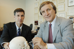 Drs. Rod Rohrich (right) and Joel Pessa have discovered that the human face is made up of individual fat compartments that gain and lose fat at different times and different rates as people age. Facial aging is, in part, characterized by how these separate compartments change as we grow older.