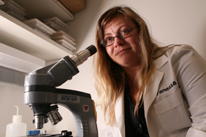 Dr. Vanessa Sperandio, associate professor of microbiology and biochemistry, led research that uncovered a potential new way to stop the biochemical signals that cause bacteria in our bodies to release toxins. The team's investigation could provide a novel approach to combating illness.