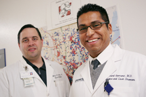Researchers, including Drs. Jeffrey Browning (left) and Richard Guerrero, have demonstrated that where different ethnic groups store fat in their bodies may account for variations in the rates those groups develop insulin resistance and non-alcoholic fatty liver disease.