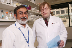Drs. Amyn Habib (left) and Kimmo Hatanpaa are among the researchers to identify a biological indicator that could eventually provide a new target for therapeutic drugs for brain-cancer patients who have the most aggressive forms of the disease.