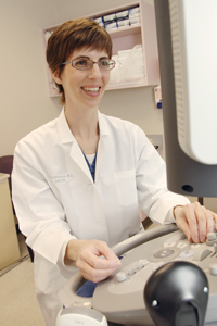 Dr. Elysia Moschos has shown that using saline-infusion sonography, or ultrasound, might make it easier to visualize and diagnose diseases in the lining of the uterus.