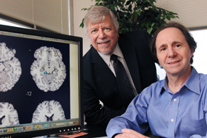 Drs. Michael Devous (left) and Bryon Adinoff led research that identified a chemical system in the brain that reacts differently in cocaine addicts. Their findings eventually could result in new treatment options for people addicted to the drug.