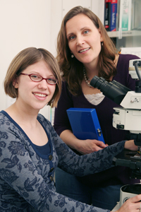Research led by Dr. Amelia Eisch (top) and including Sarah Bulin has demonstrated that blocking new growth of specific brain nerve cells increases vulnerability for cocaine addiction and relapse.