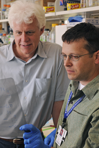 Findings by Drs. Eric Olson (left) and Mark Hatley indicate that overproducing the miR-21 molecule does not trigger lung cancer in rodents, but it does make it worse.