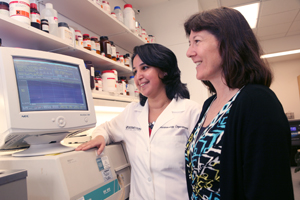 Researchers, including Dr. Margaret Phillips (right) and Farah El Mazouni, have collaborated to identify a series of chemical compounds that might serve as starting points for new classes of anti-malarial drugs. Drugs are the mainstay of malaria treatment, yet the parasite is notorious for developing drug resistance, which compromises current therapy.