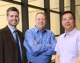 UT Southwestern researchers (from left) Dr. Kevin Williams, Dr. Philipp Scherer, and Dr. Tiemin Liu
