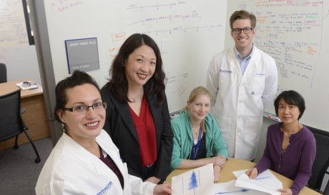 UT Southwestern researchers involved in a study that identified a potential mechanism to reduce epileptic seizures following traumatic brain injury included (l-r) Farrah Tafacory, Dr. Jenny Hsieh, Rebecca Brulet, Dr. Zane Lybrand, and Ling Zhang.