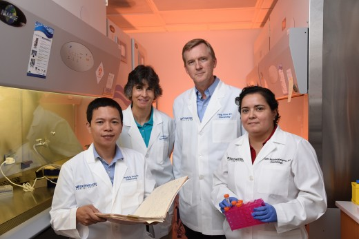 UT Southwestern researchers (l-r) Dr. Chaofeng Yang, Lisa Hahner, Dr. Perry Bickel, and Dr. Violetta Gallardo Montejano