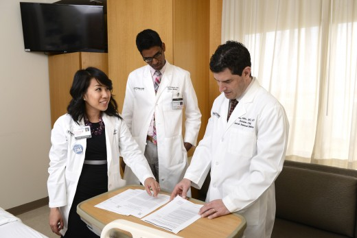 Dr. Oanh Nguyen (left), Dr. Anil Makam (center), and Dr. Ethan A. Halm (right) of UT Southwestern's Center for Patient-Centered Outcomes Research.