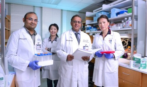 Members of a UT Southwestern team whose research identified a key trigger of the neonatal lung disease BPD included (l-r) Drs. Vishal Kapadia, Naeun Cheong, Rashmin Savani, and Jie Liao.