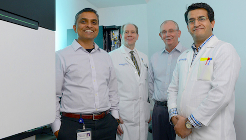 UT Southwestern researchers involved in a study that identified more than 1,000 DNA variations that affect susceptibility to lupus included (l-r): Dr. Chandrashekhar Pasare, Dr. David Karp, Dr. Edward Wakeland, and Dr. Prithvi Raj.