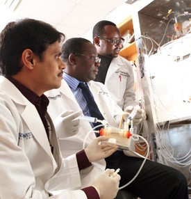 Researchers included (from left) Drs. Shashikant Srivastava, Tawanda Gumbo and Jotam G. Pasipanodya.