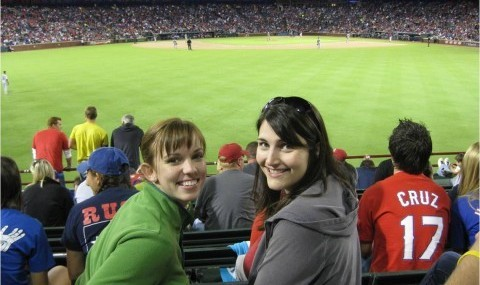 Clinical nutrition students Darrah Jordan (left) and Stacie Hunter (right) enjoy a Rangers baseball game at Globe Life Park in Arlington.