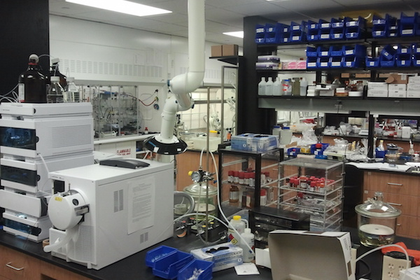 Lab benches with equipment