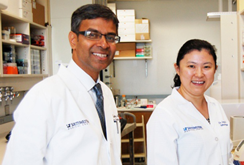 V. Vinod Mootha, M.D. with Xin Gong, M.D., Research Associate