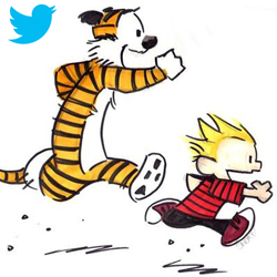 Calvin and Hobbs illustration with twitter logo