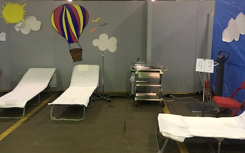 "Pediatrics faculty physicians are staffing the Mega-Shelter Medical Clinic at Kay Baily Hutchison Convention Center to help treat children evacuated from Hurricane Harvey."" width="