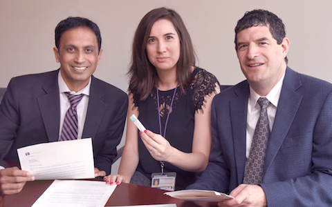 Dr. Amit Singal (left), research coordinator Katharine McCallister, and Dr. Ethan Halm (right) found that follow-up letters and FIT tests can help improve colon cancer screening completion.