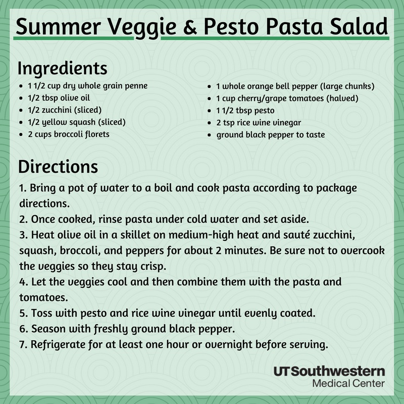 Summer veggie and pesto pasta salad. Recipe in PDF
