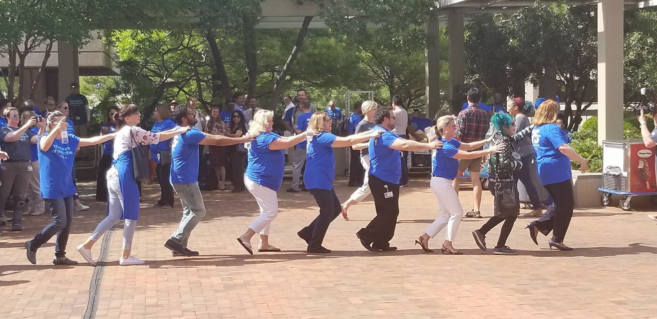 Employees gather to cheer 75 years of UTSW at rollicking 'party on