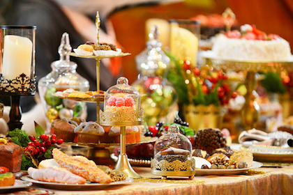 Decorative picture of desserts on table