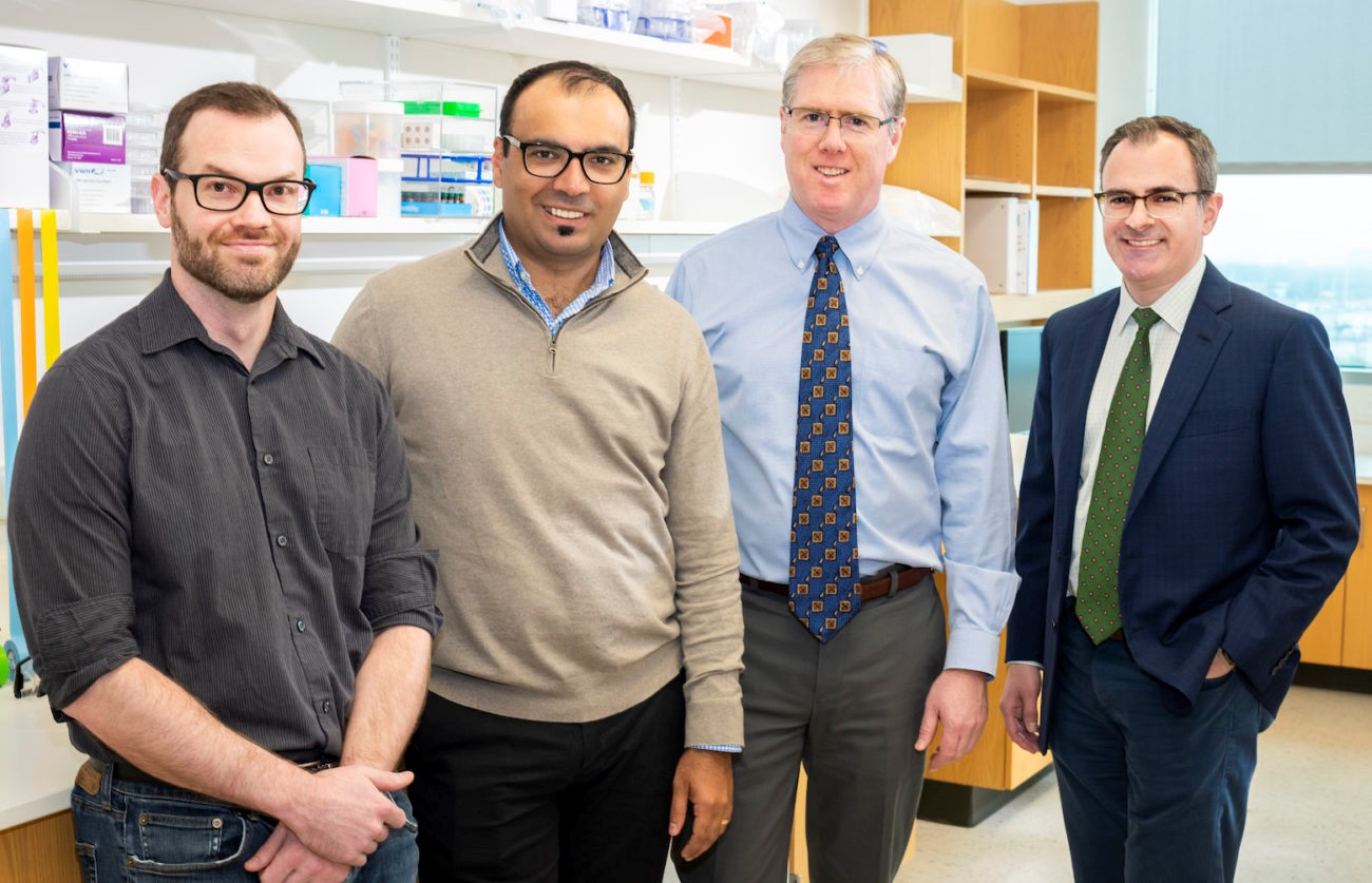 Researchers involved in the study include (from left) Drs. Brandon Faubert, Alpaslan Tasdogan, Sean Morrison, and Ralph DeBerardinis.