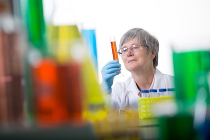 Sandra Schmidt, Ph.D. in her research lab