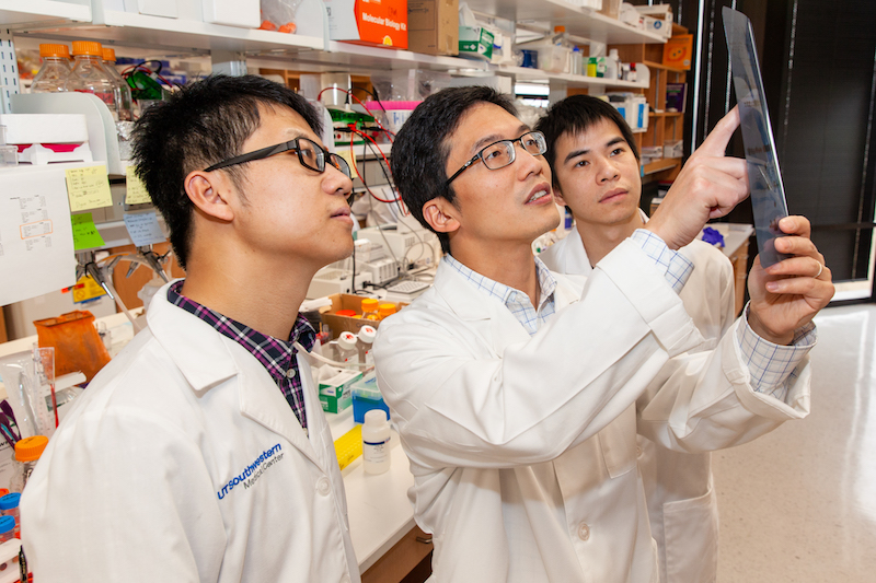 From left: Drs. Lianxin Hu, Qing Zhang, and Haibiao Xie