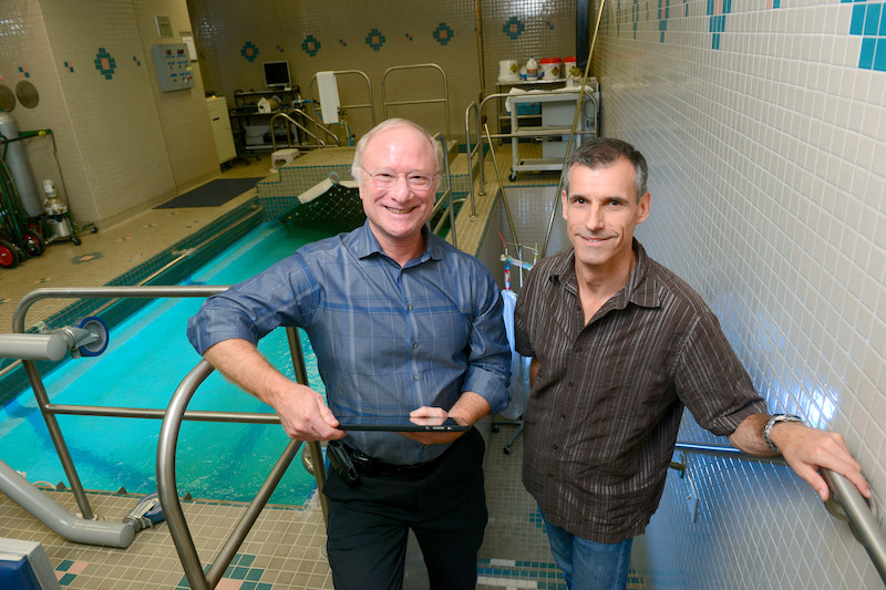Benjamin Levine, M.D. (left) with long-distance swimmer, Benoit Lecomte.