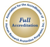 Seal of Full Accreditation from the Association for the Accreditation of Human Research Protection Programs, Inc.